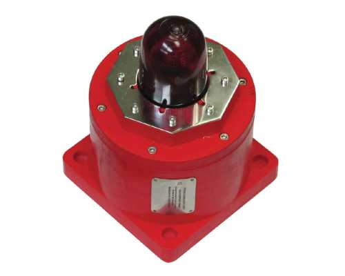 EXD Beacon, 12-48 VDC, 10J Xenon, Red, Red Lens TCB-0007